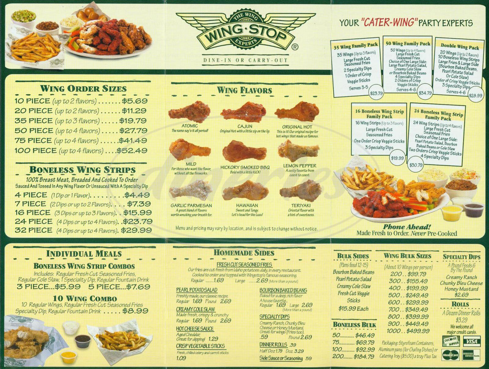menu for Wingstop
