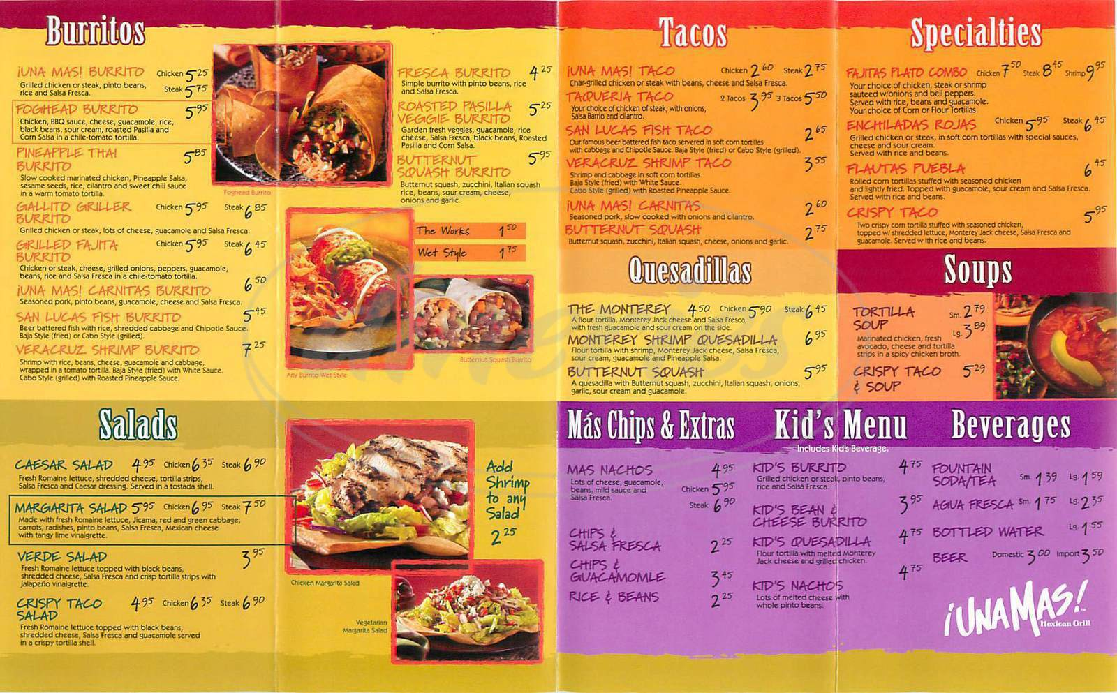 menu for Una Mas Mexican Grill