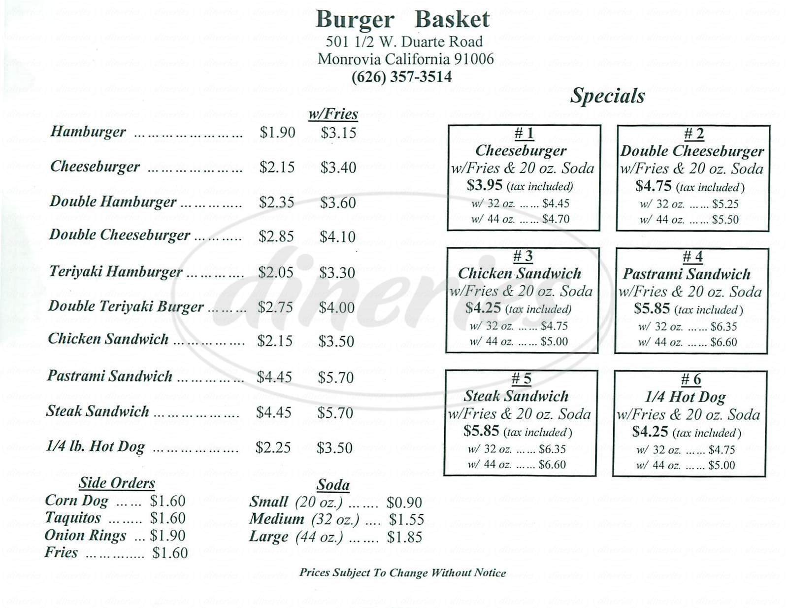 menu for Burger Basket
