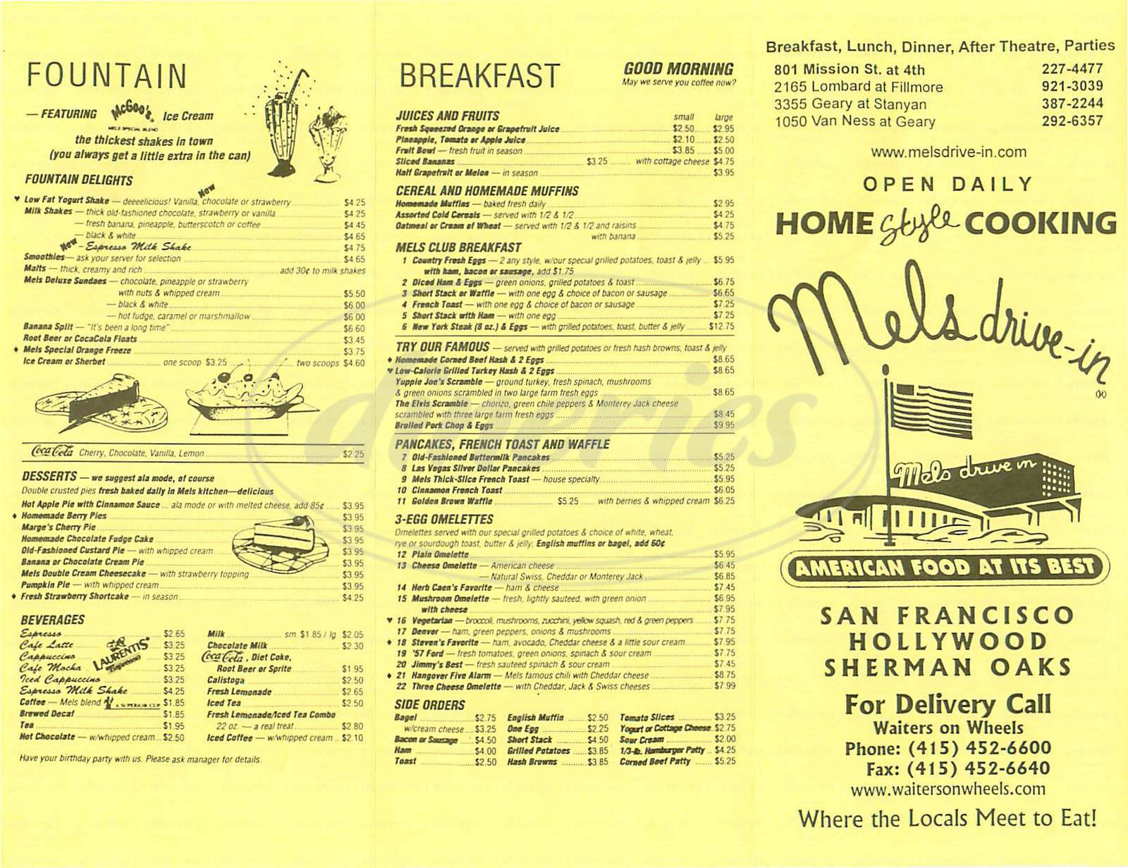 menu for Mel's Drive In