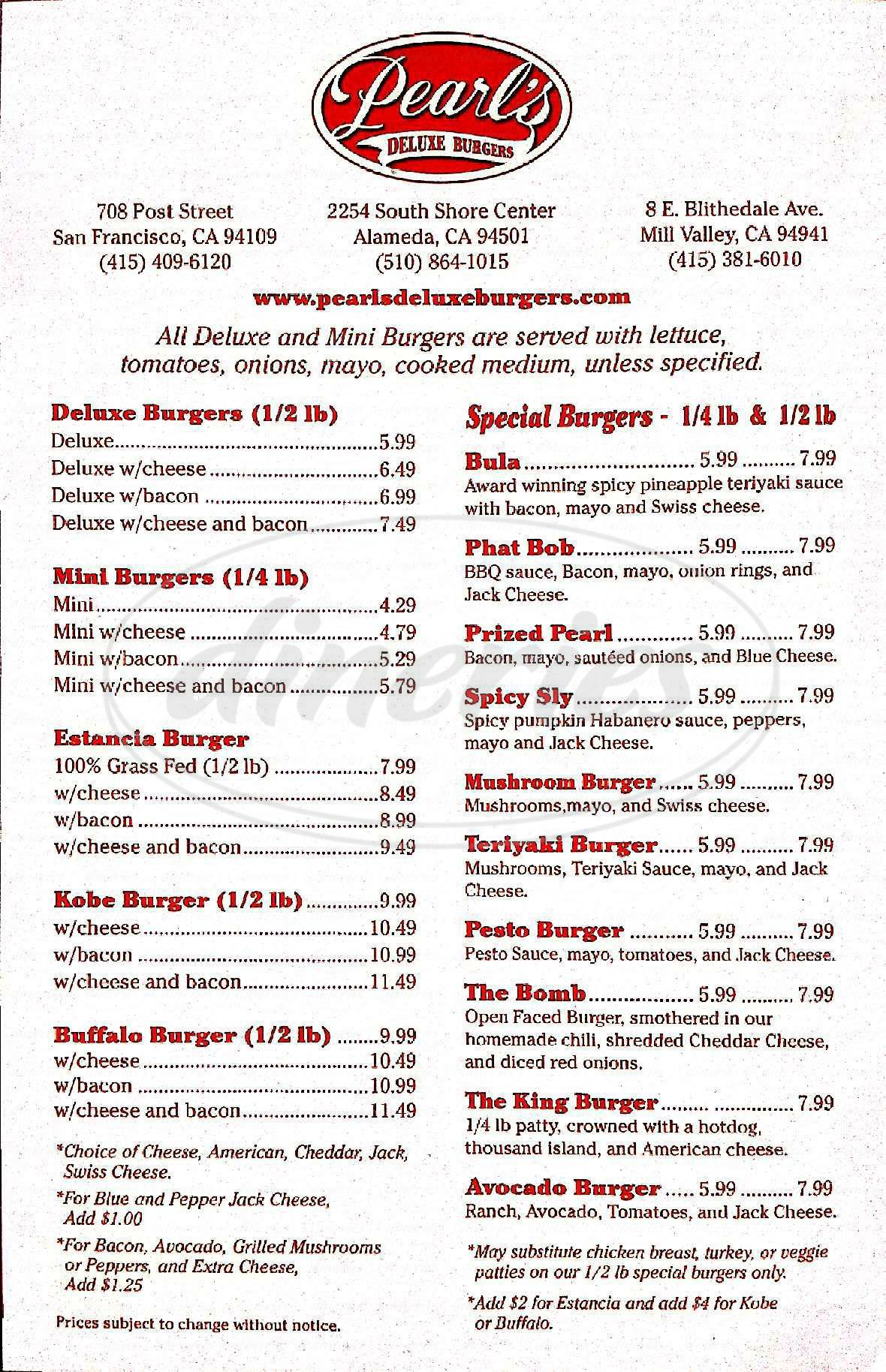 menu for Pearl's Deluxe Burgers