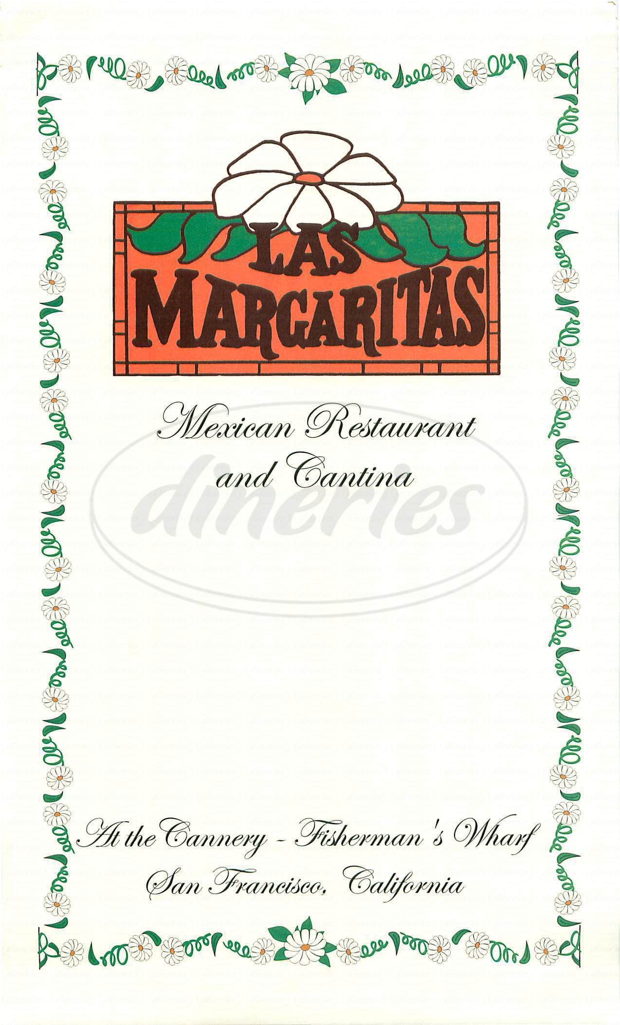 menu for Las Margaritas