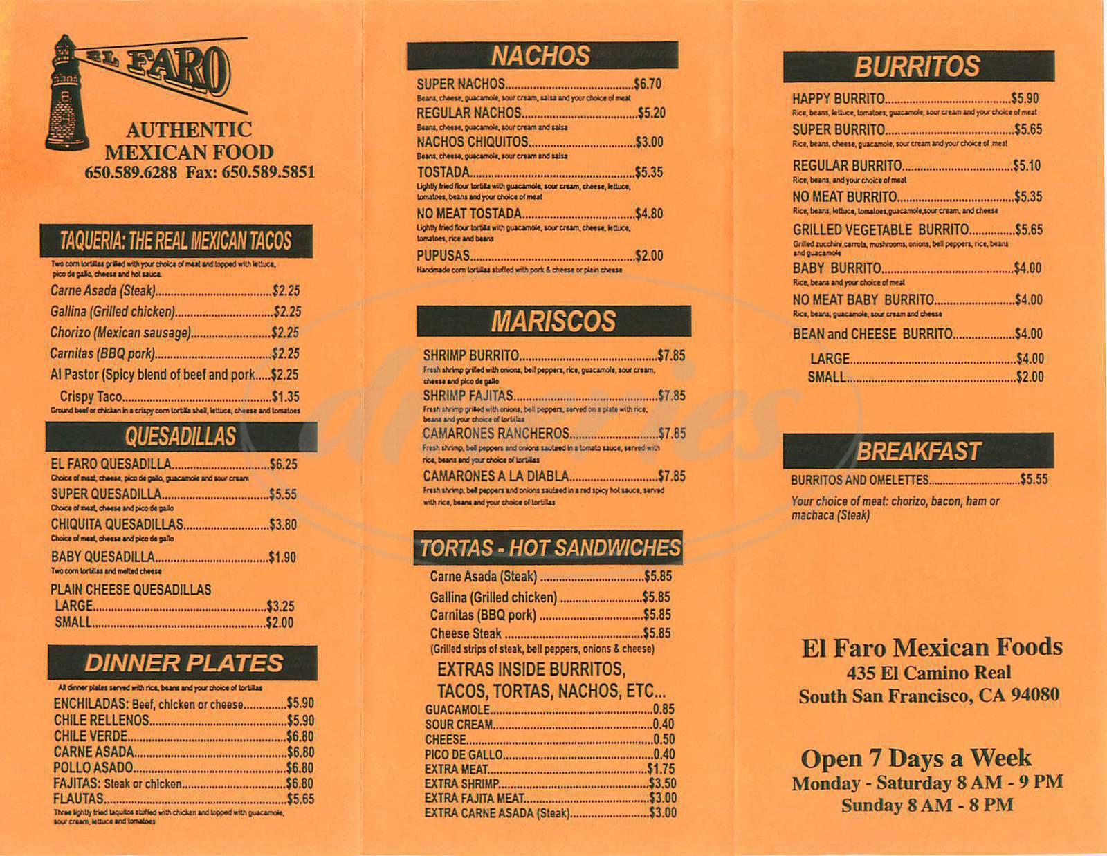 menu for El Faro
