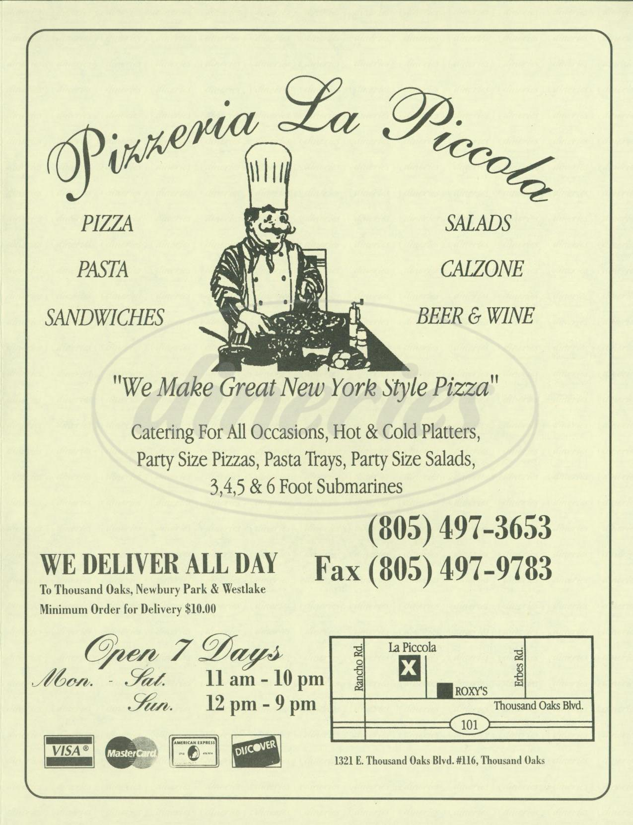 menu for Pizzeria la Piccola