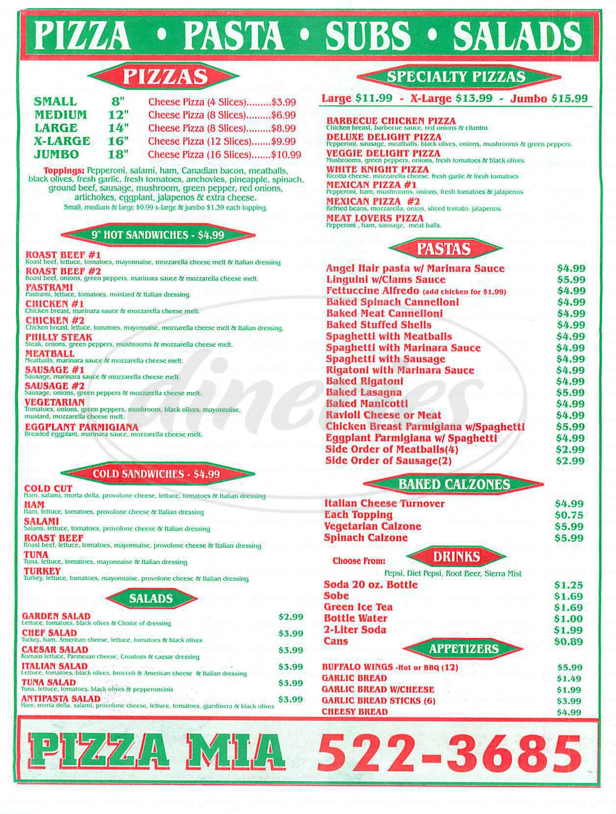 menu for Pizza Mia