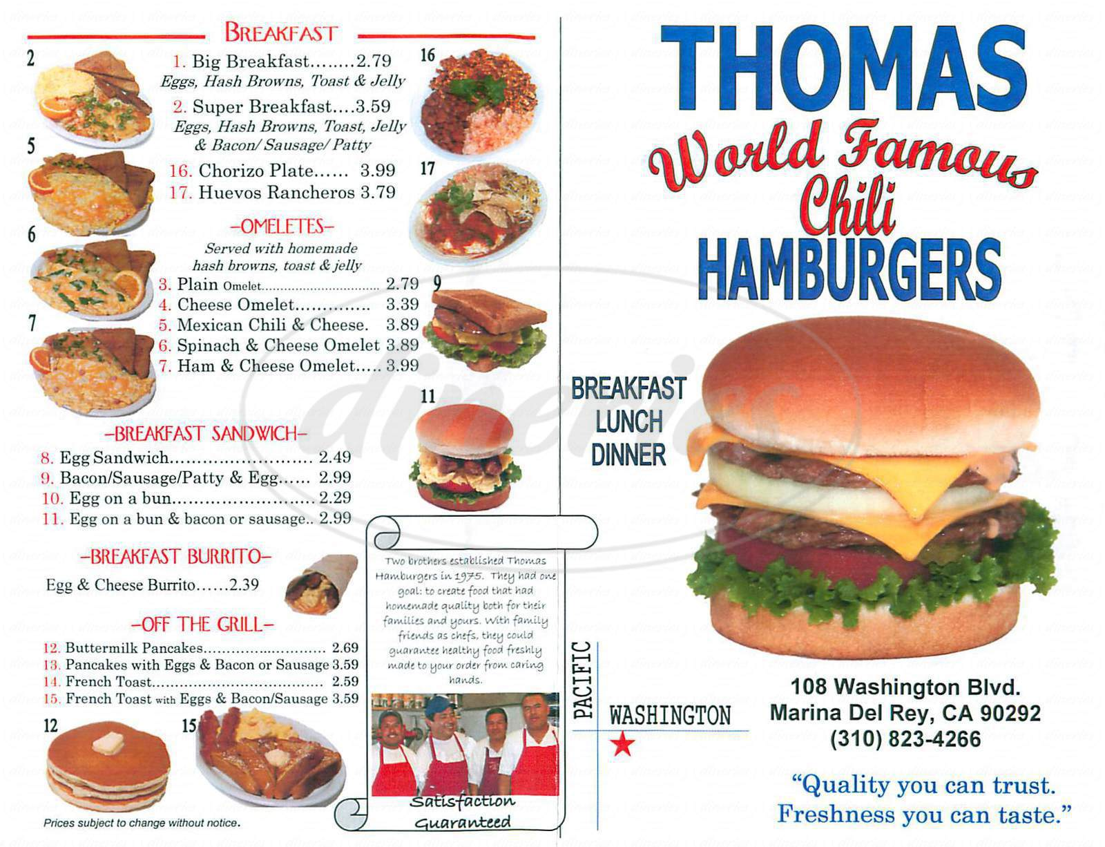 menu for Thomas Hamburgers