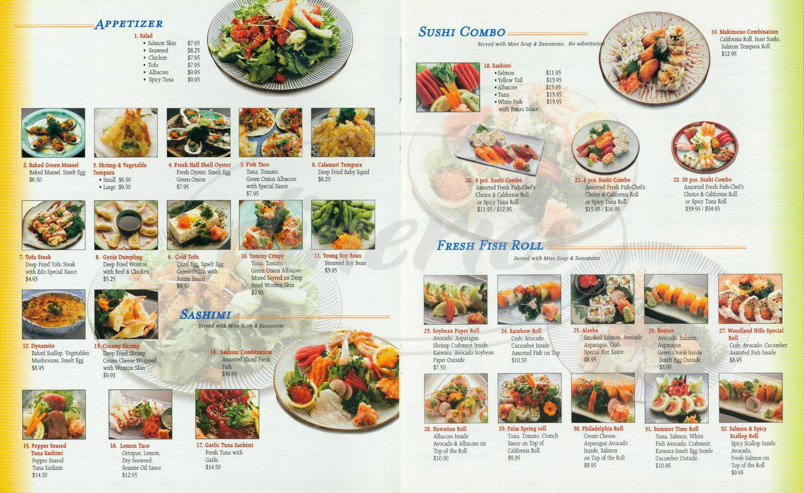 menu for Edo Sushi