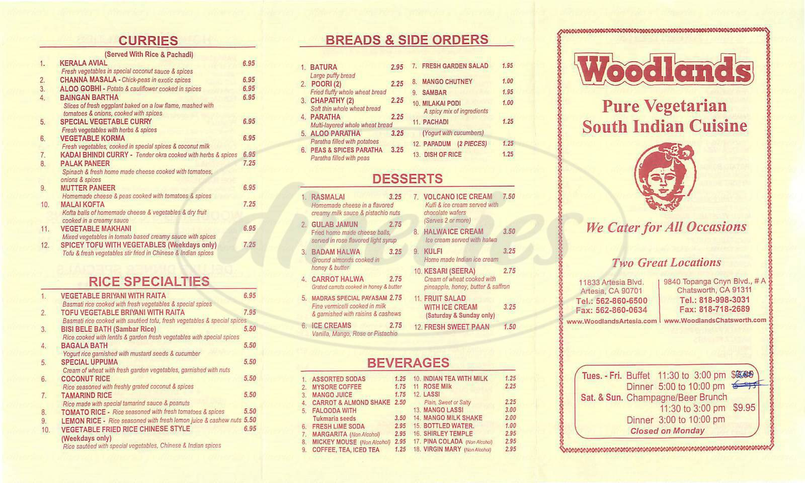 menu for Woodlands Indian Cuisine