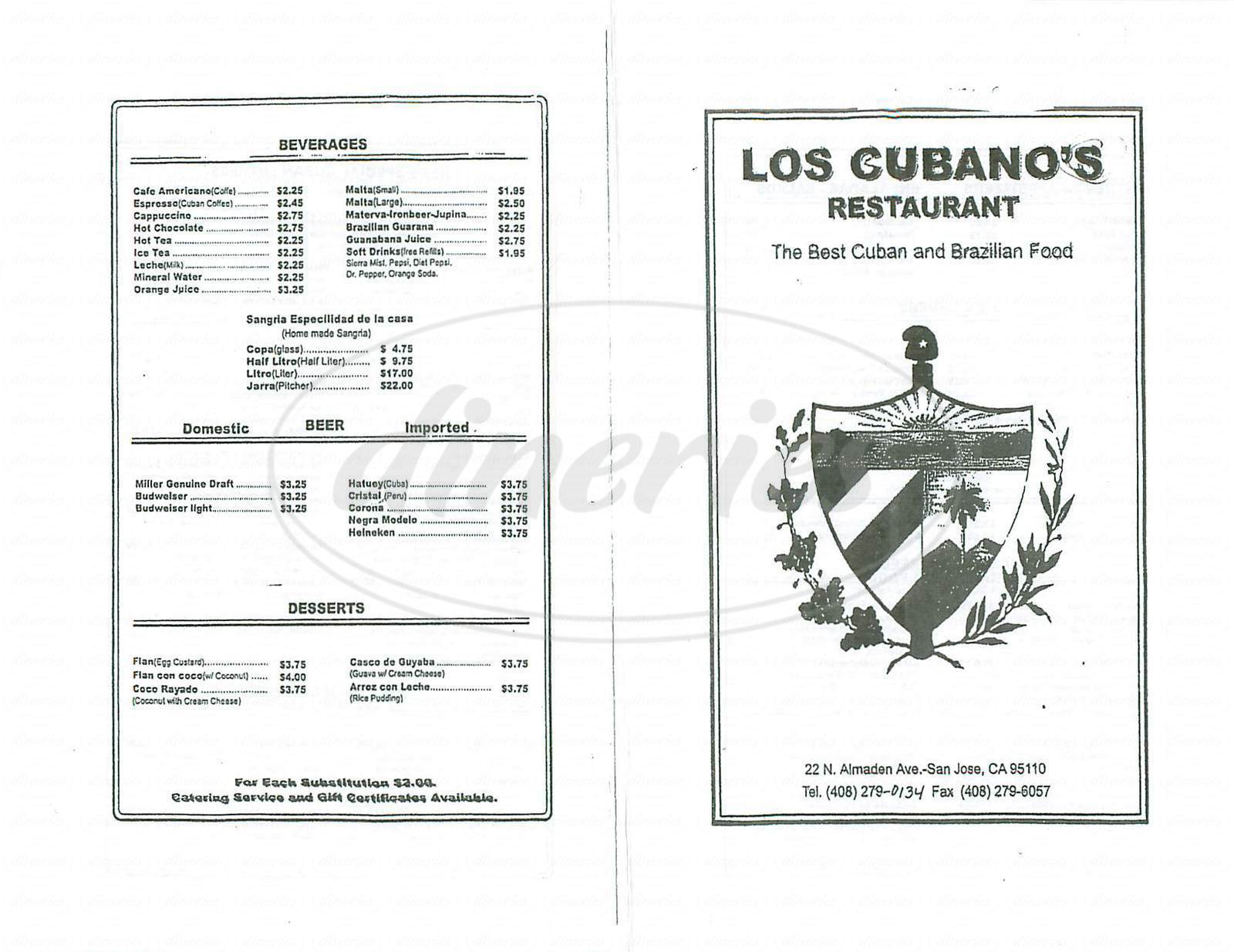 menu for Los Cubanos Restaurant