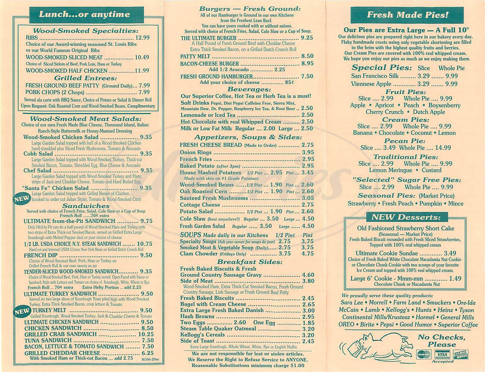 menu for The Original Hickry Pit
