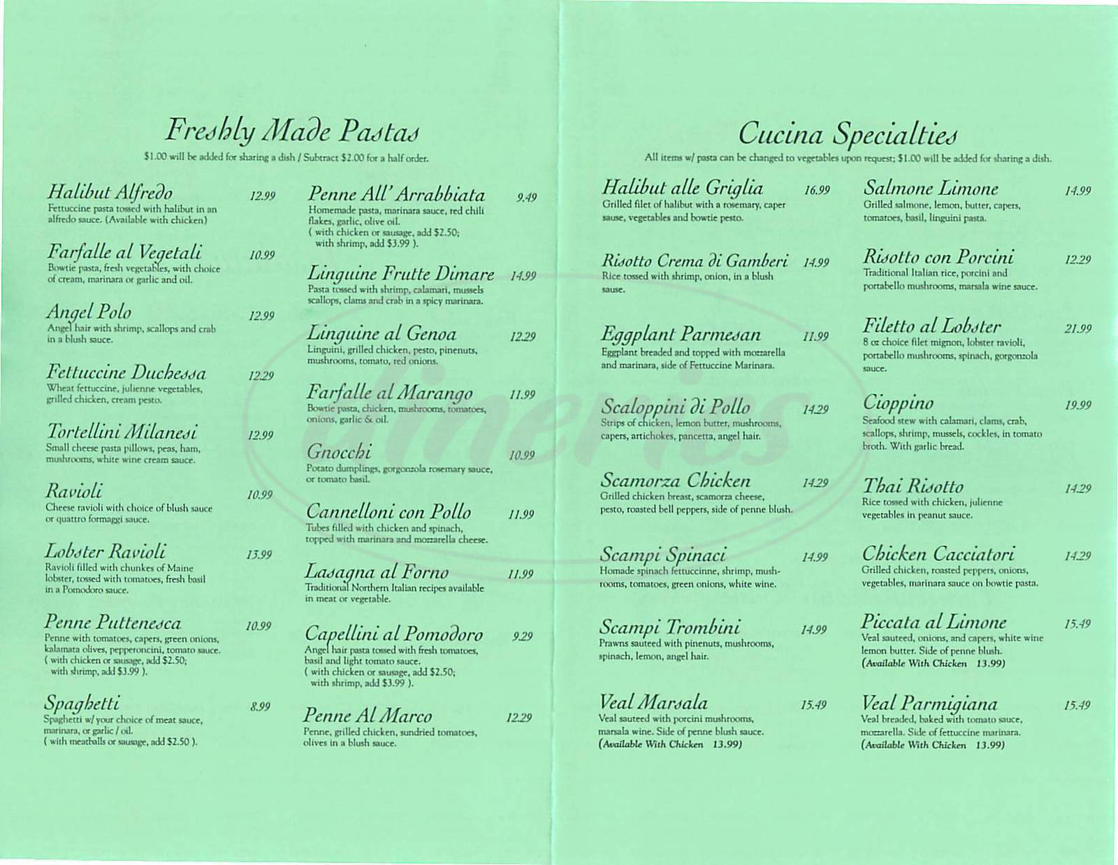 menu for Marco Polo Italian Eatery