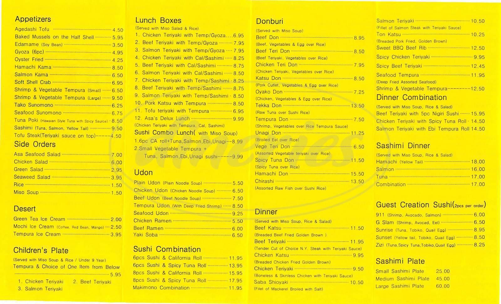 menu for Asa Sushi