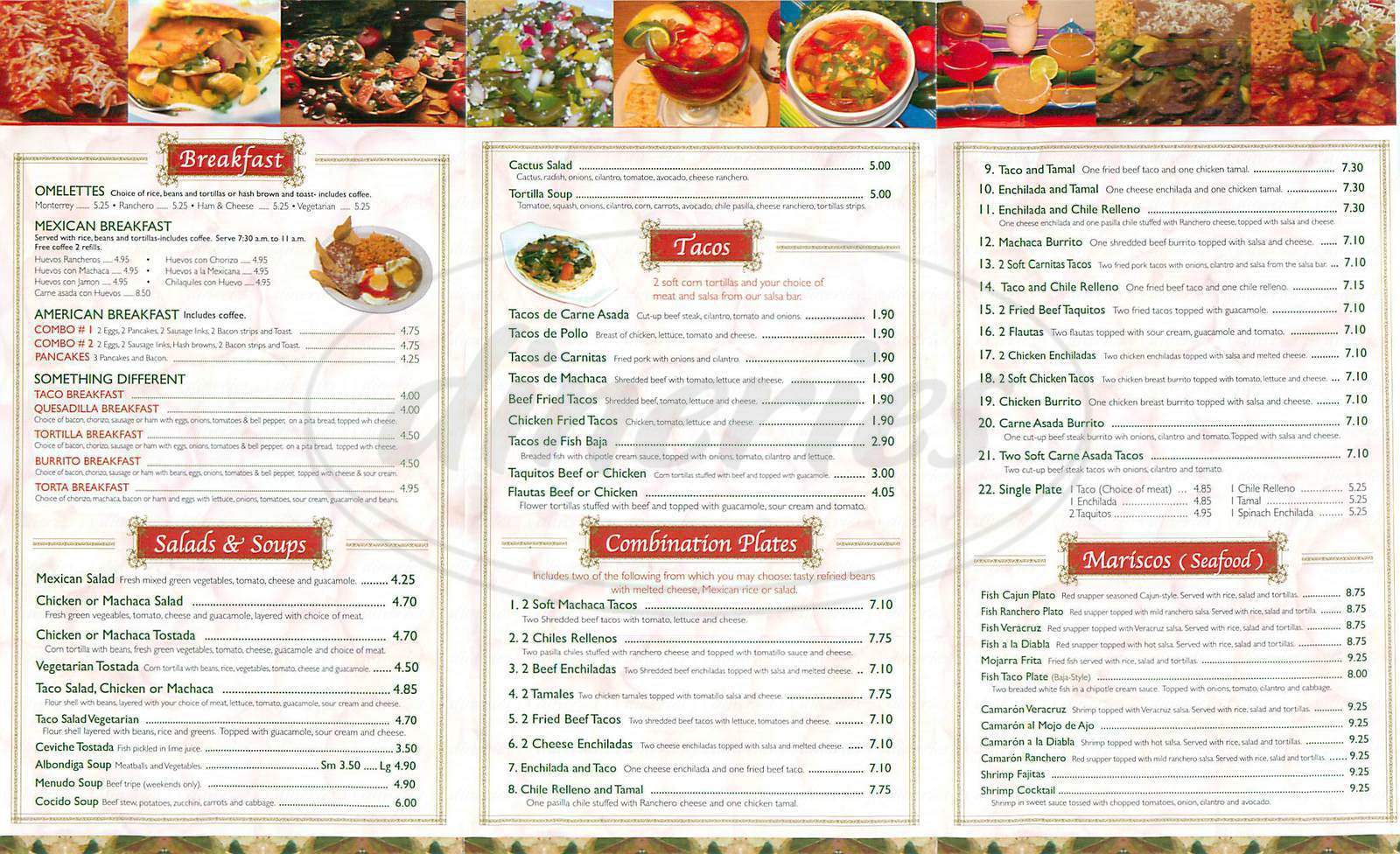 menu for La Fogata
