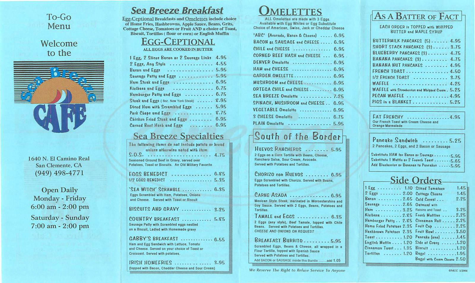 menu for Sea Breeze Café