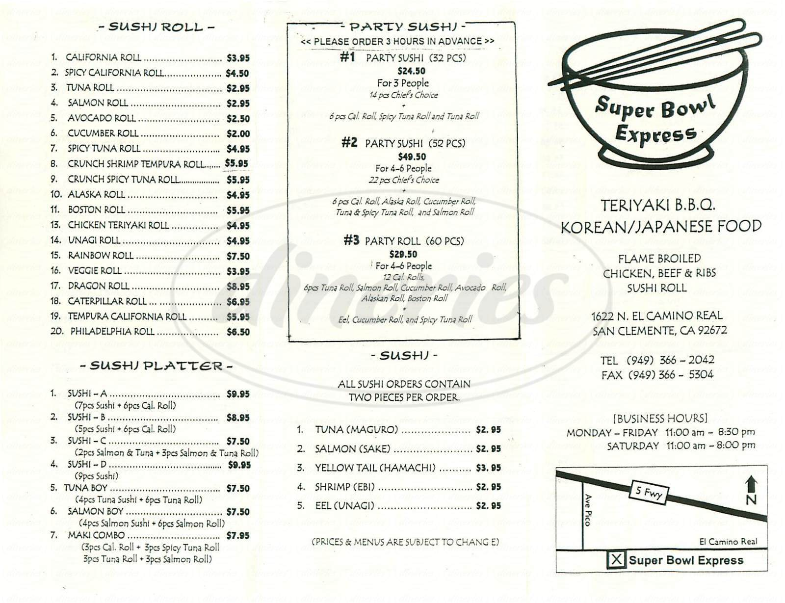menu for Super Bowl Express