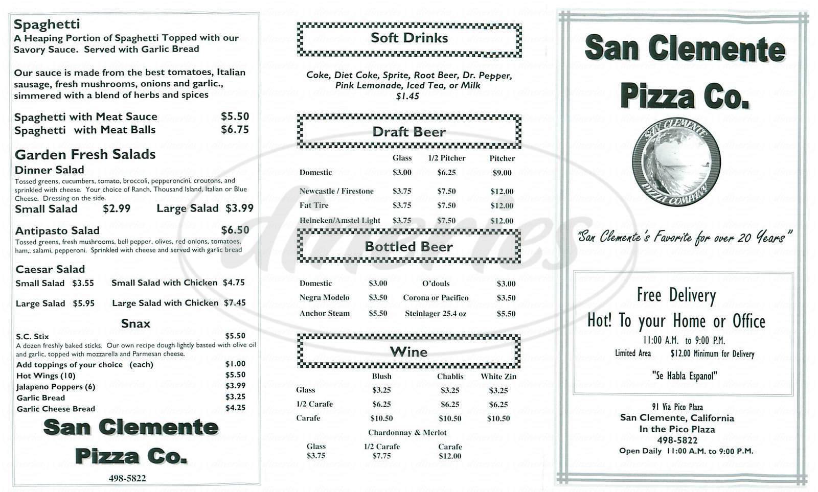 menu for San Clemente Pizza Company