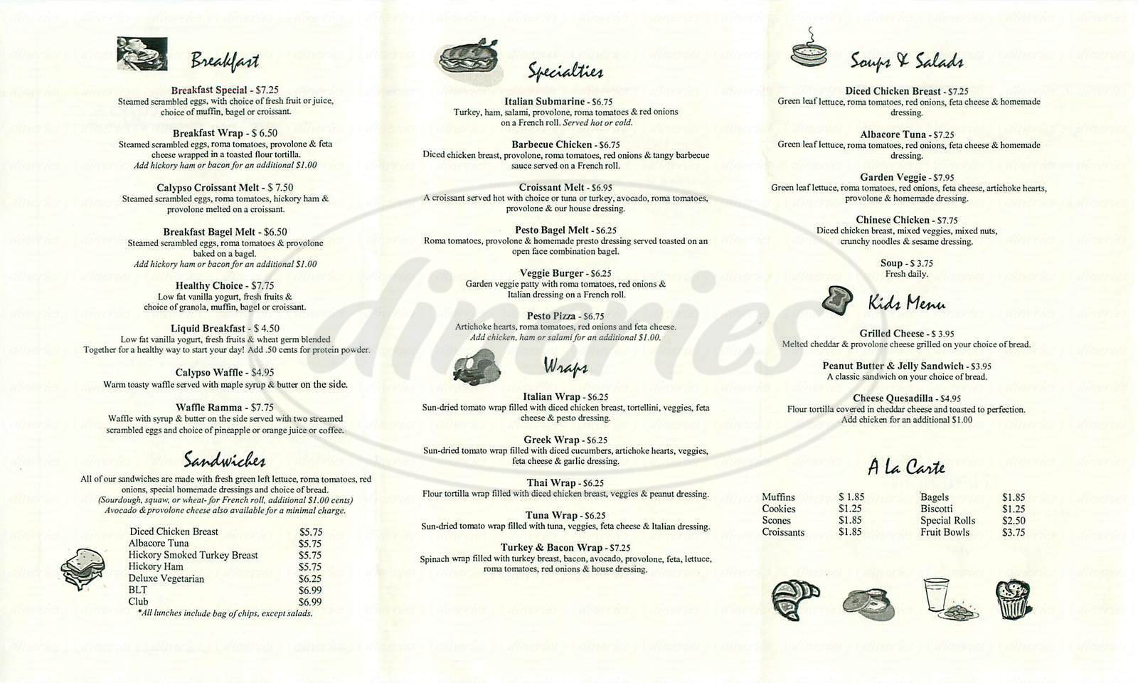 menu for Café Calypso