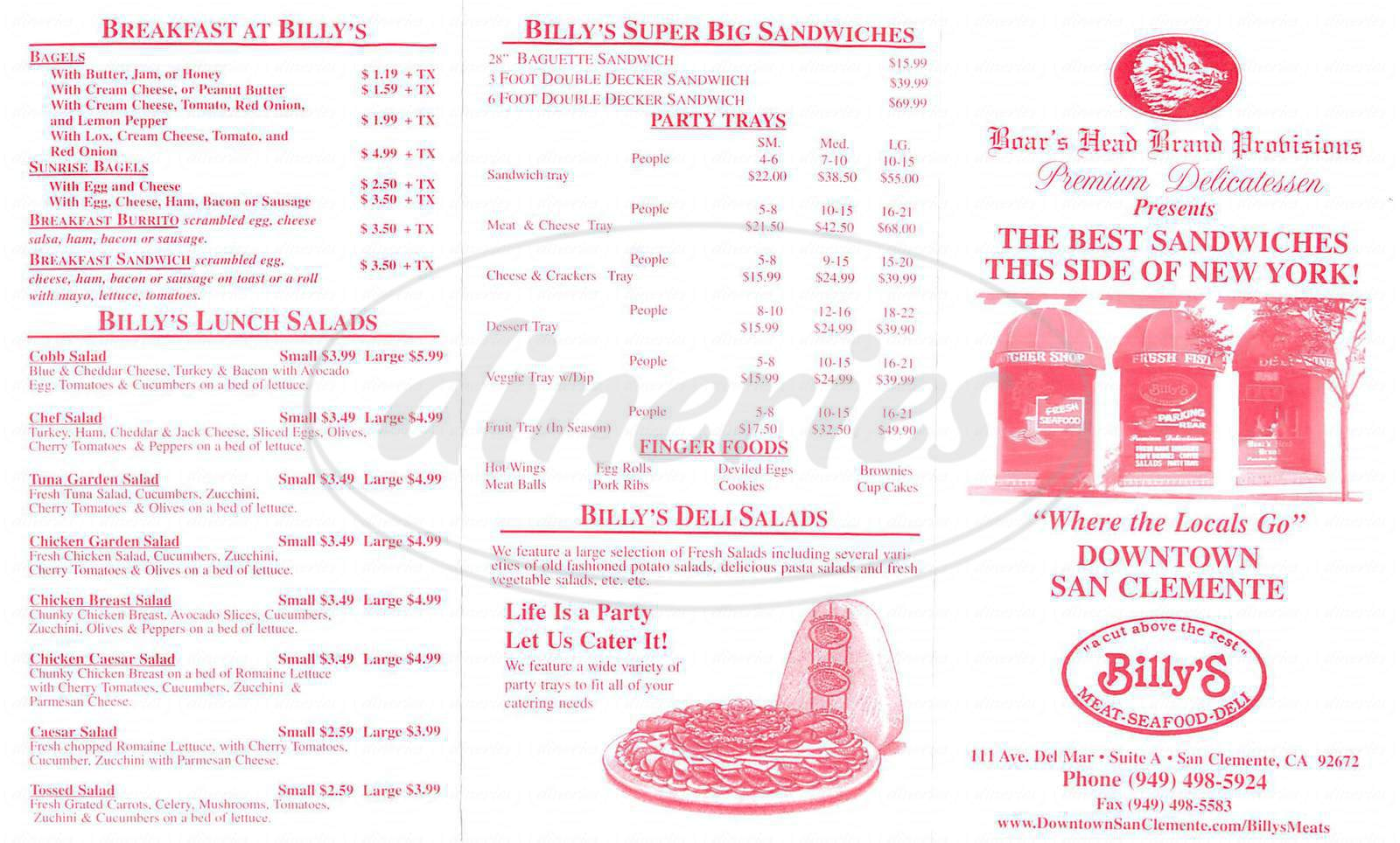 menu for Billys Meat Seafood and Deli