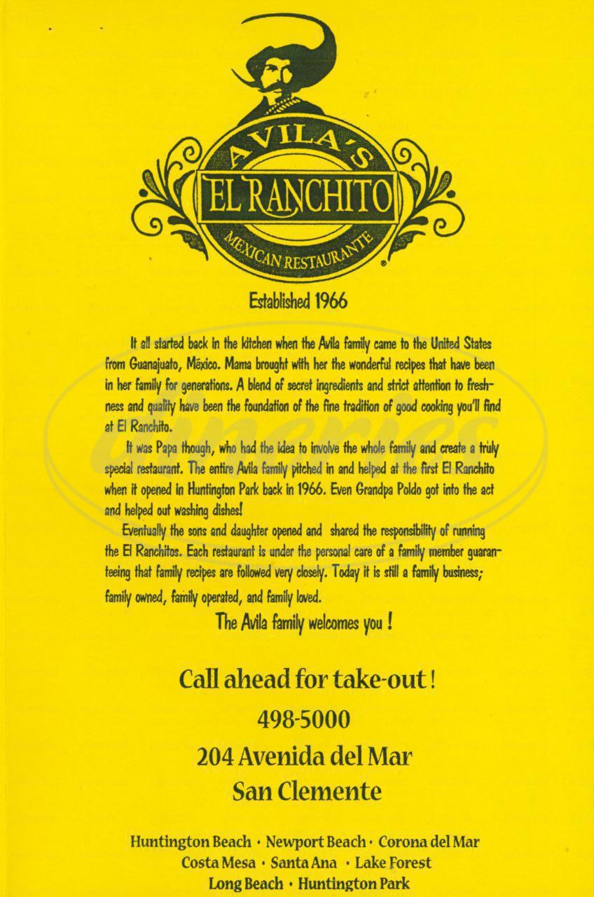 menu for Avilas el Ranchito