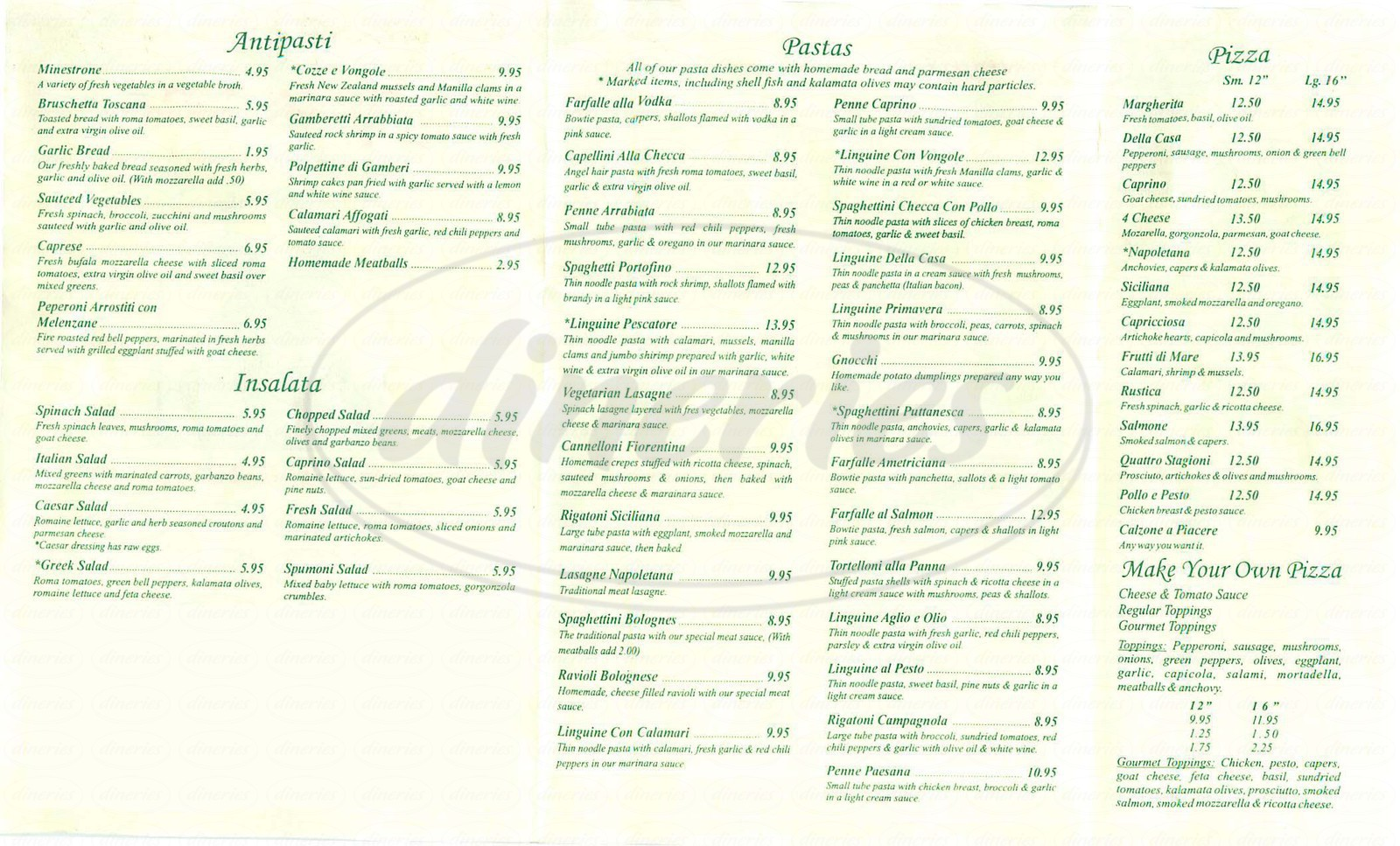 menu for Spumoni
