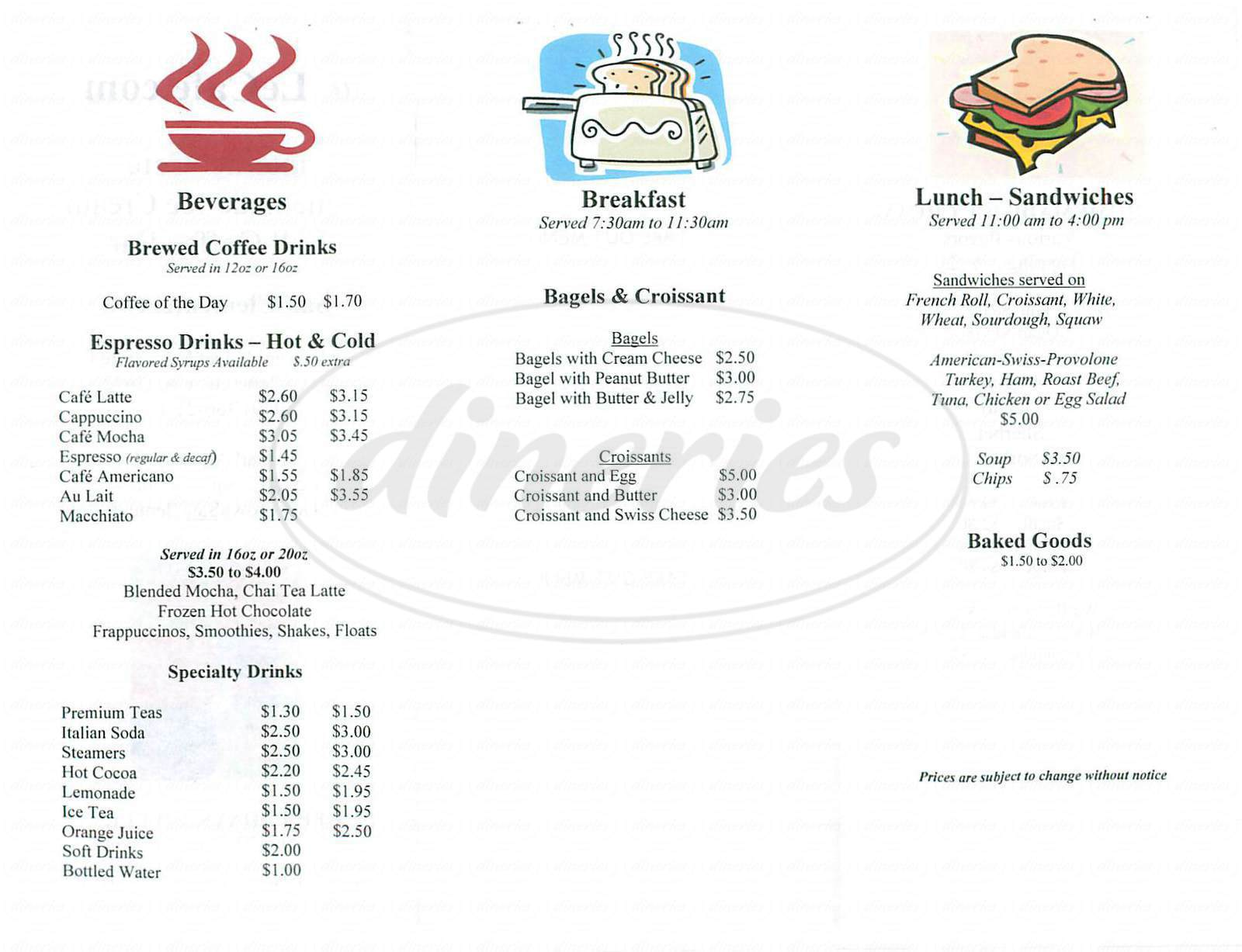 menu for Le Café Dot Com