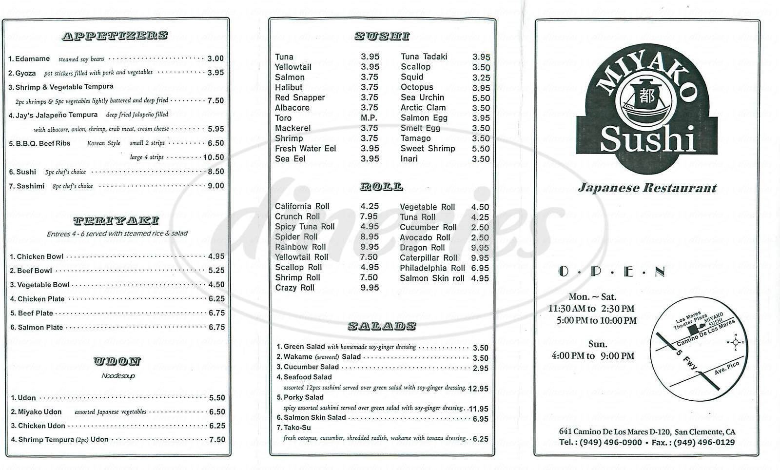 menu for Miyako Sushi