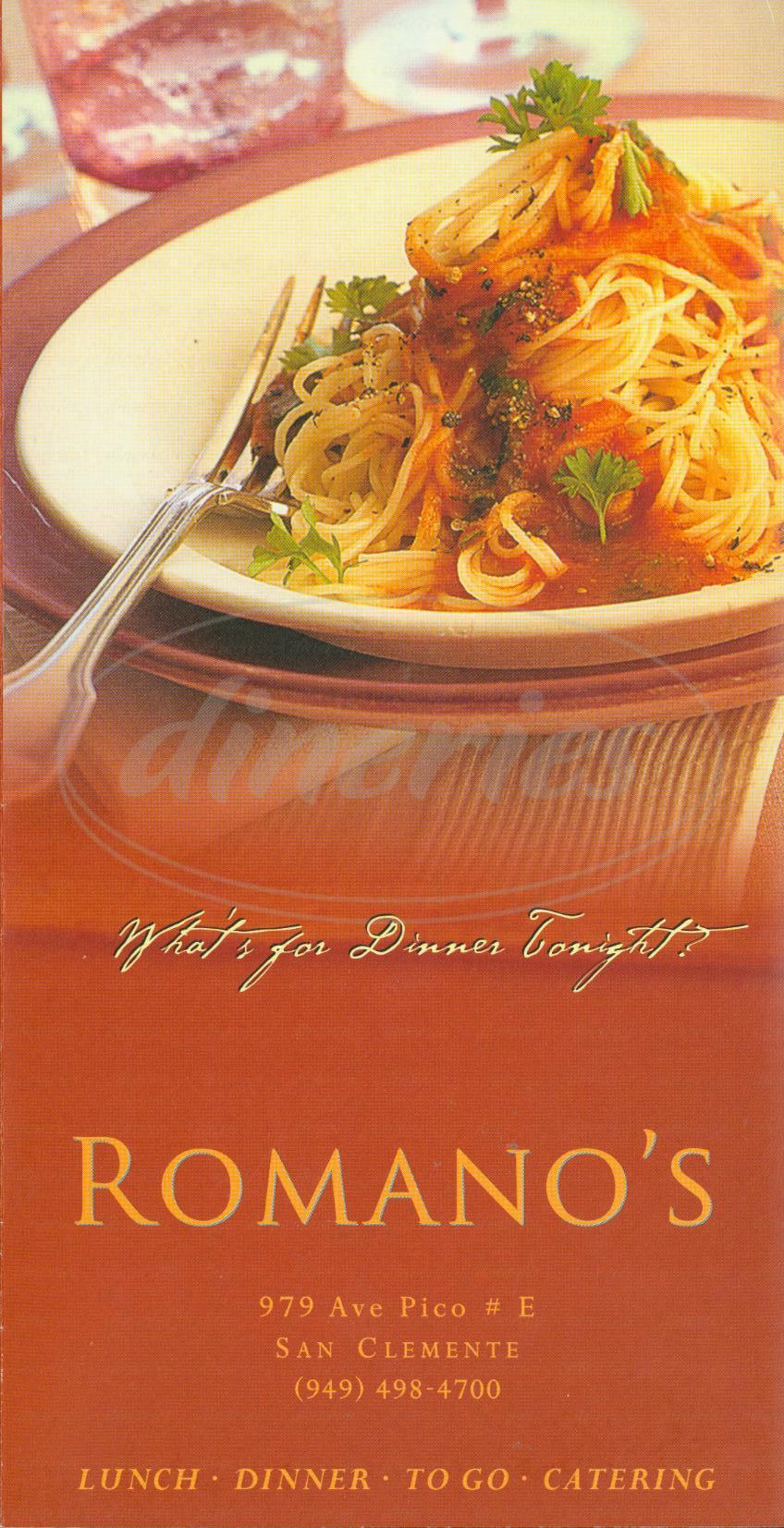 menu for Romano's
