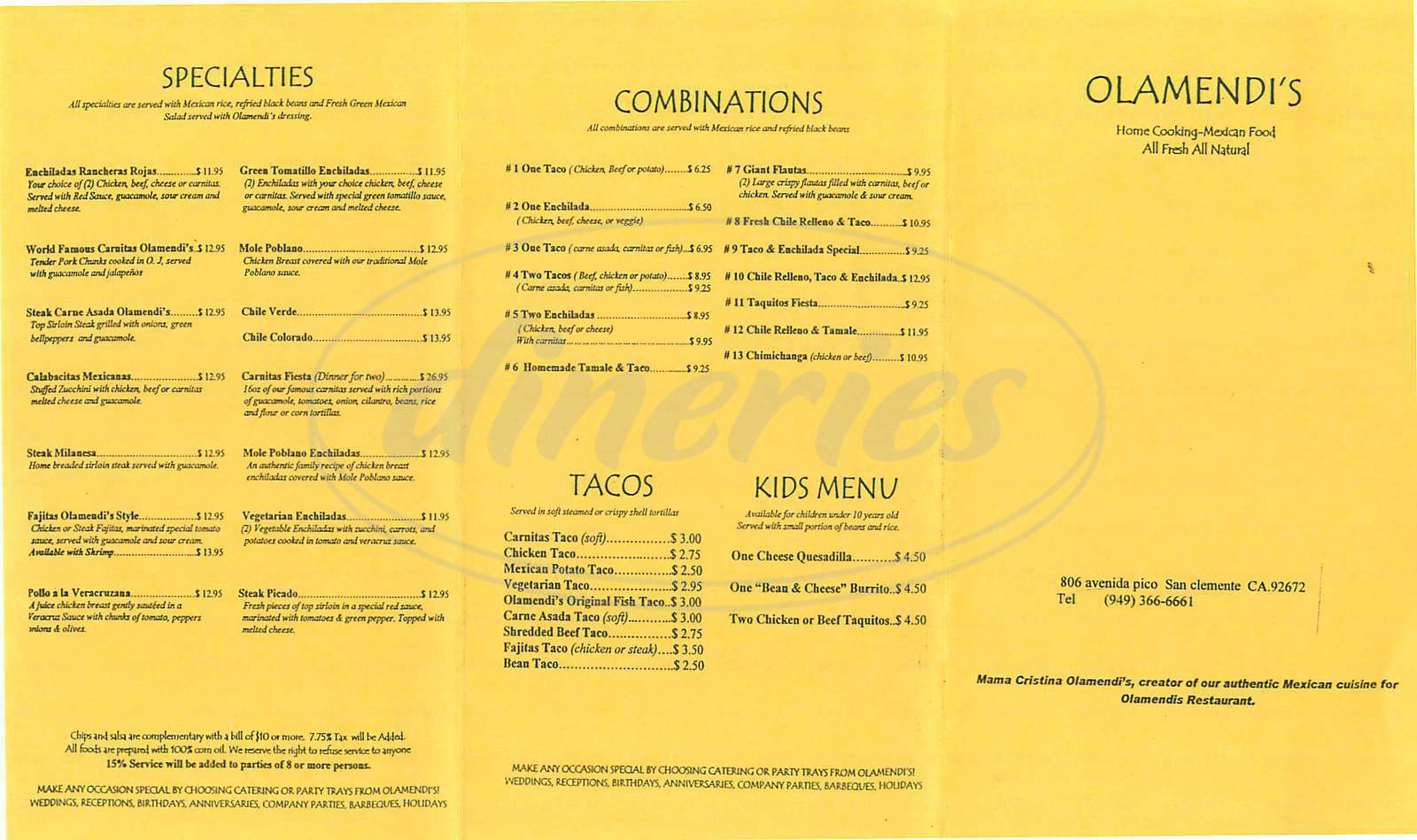 menu for Olamendi's Restaurant