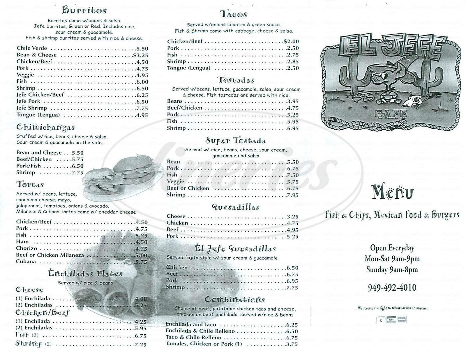menu for El Jefe