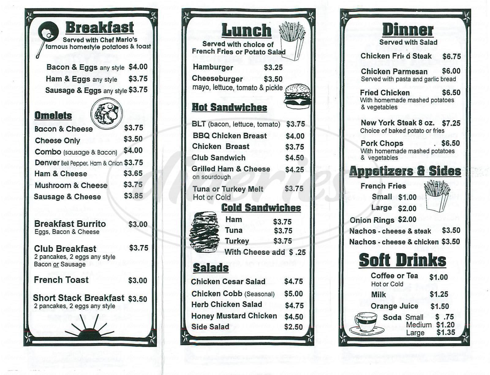 menu for Mini Cafe