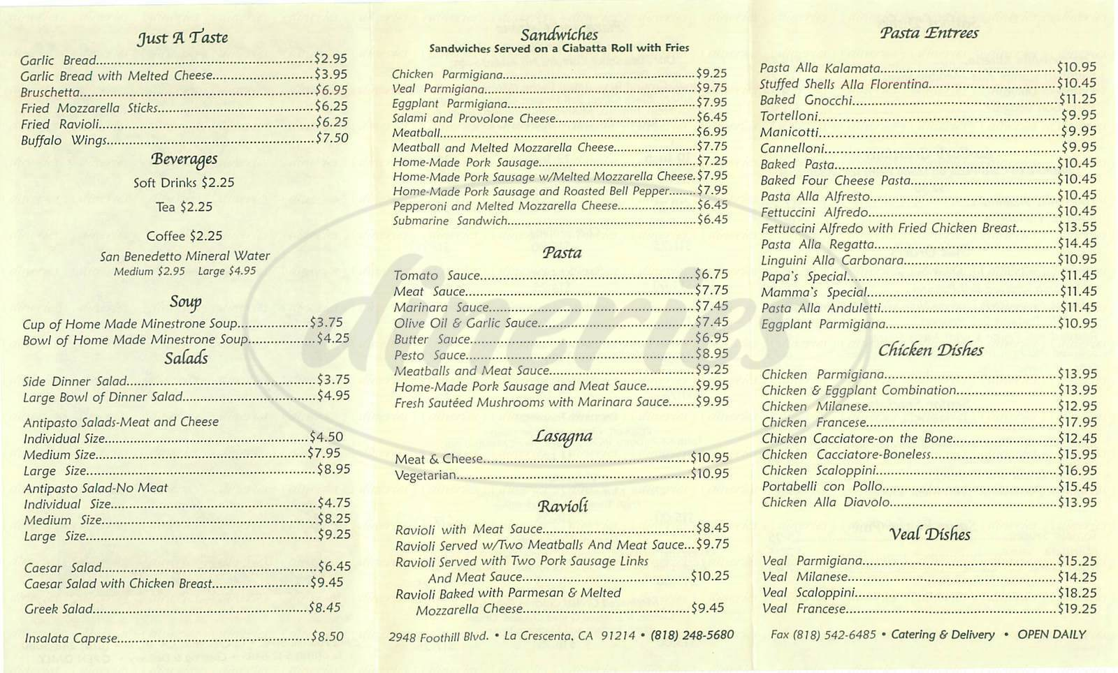 menu for Dominick's Italian Restaurant
