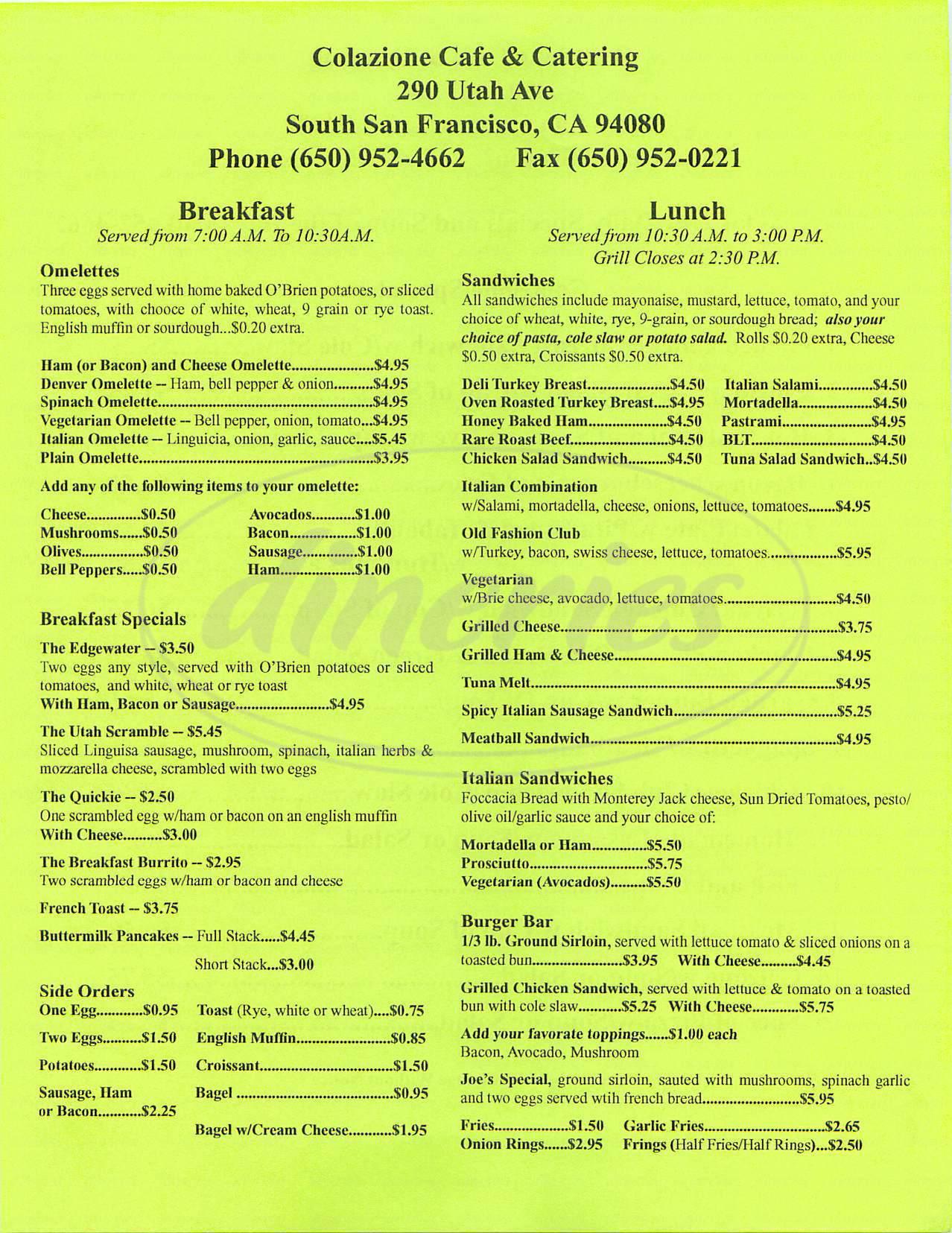 menu for Colazione Café