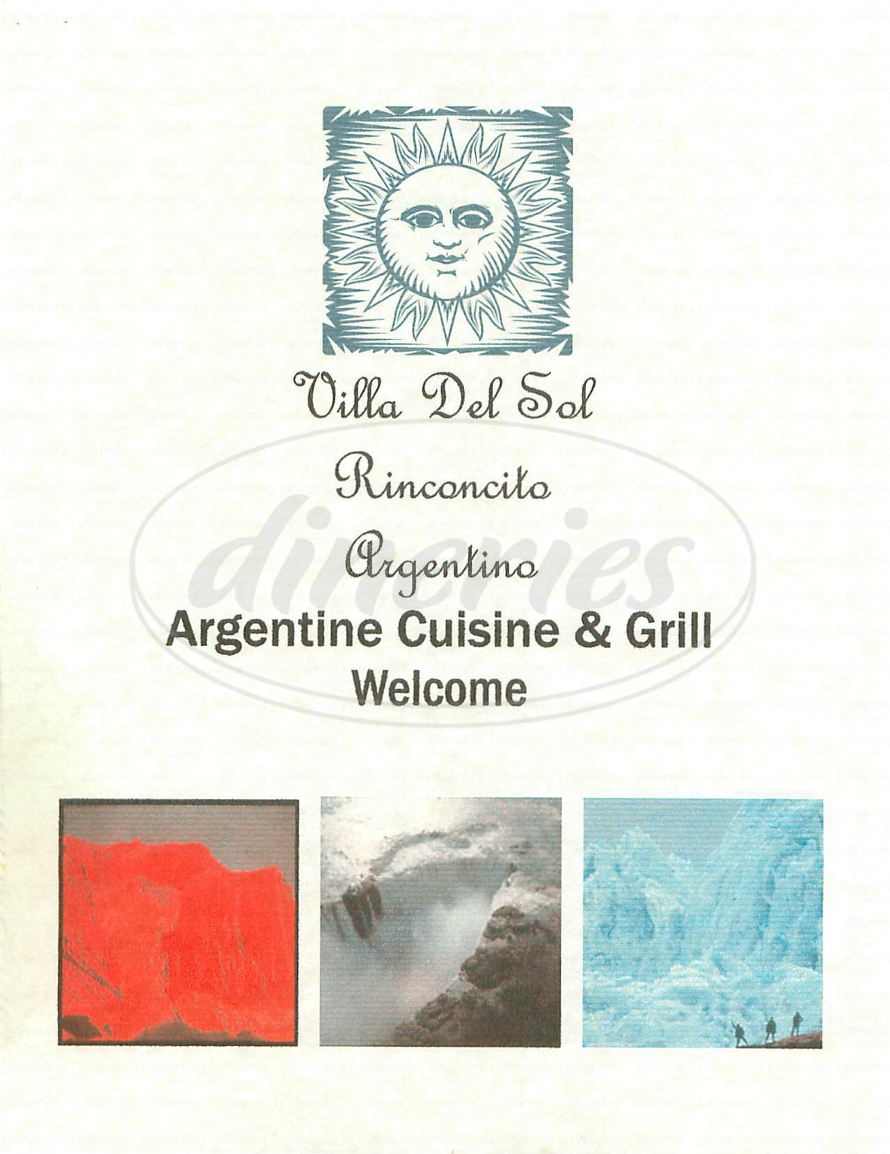 menu for Villa del Sol