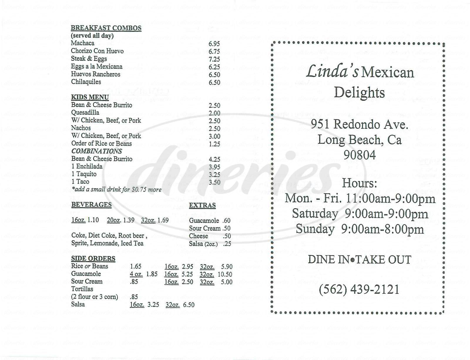 menu for Lindas Mexican Delight