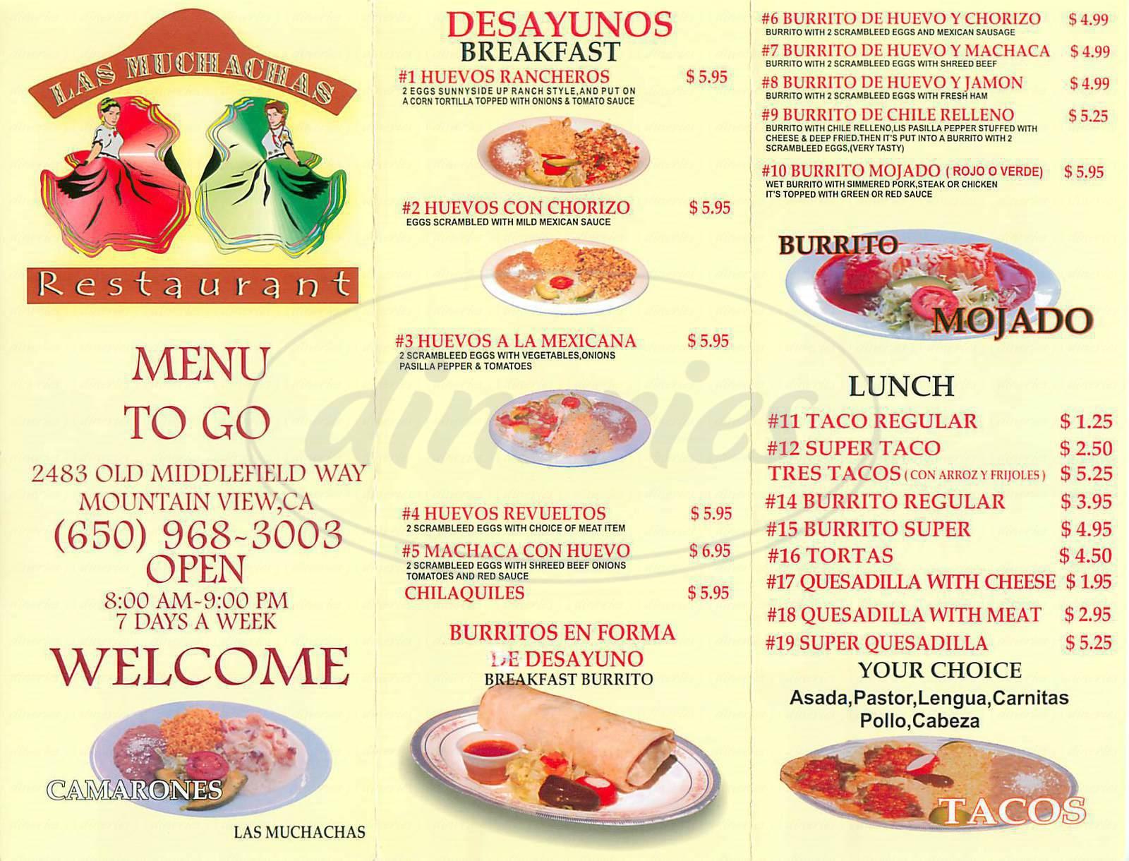 menu for Las Muchachas
