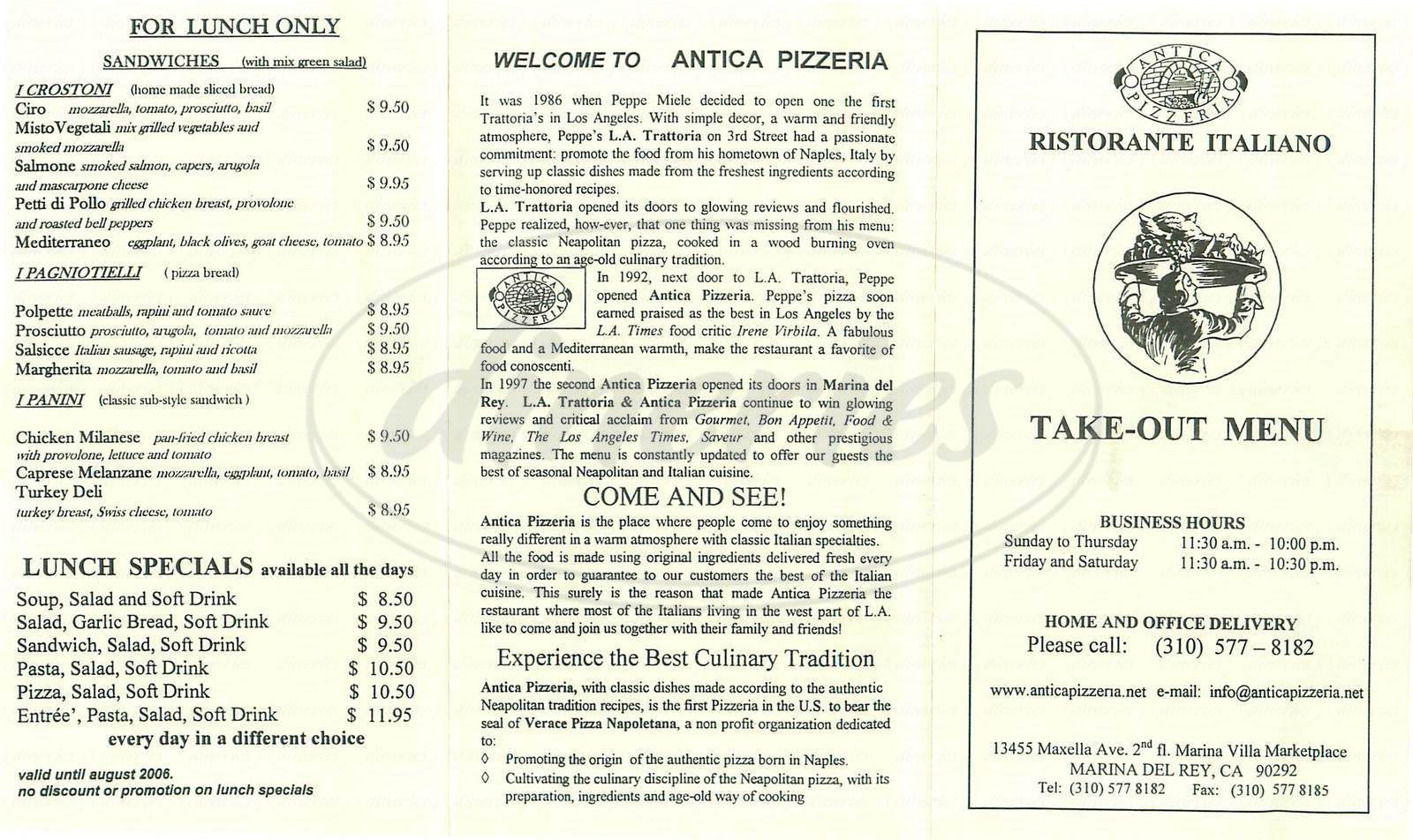 menu for Antica Pizzeria