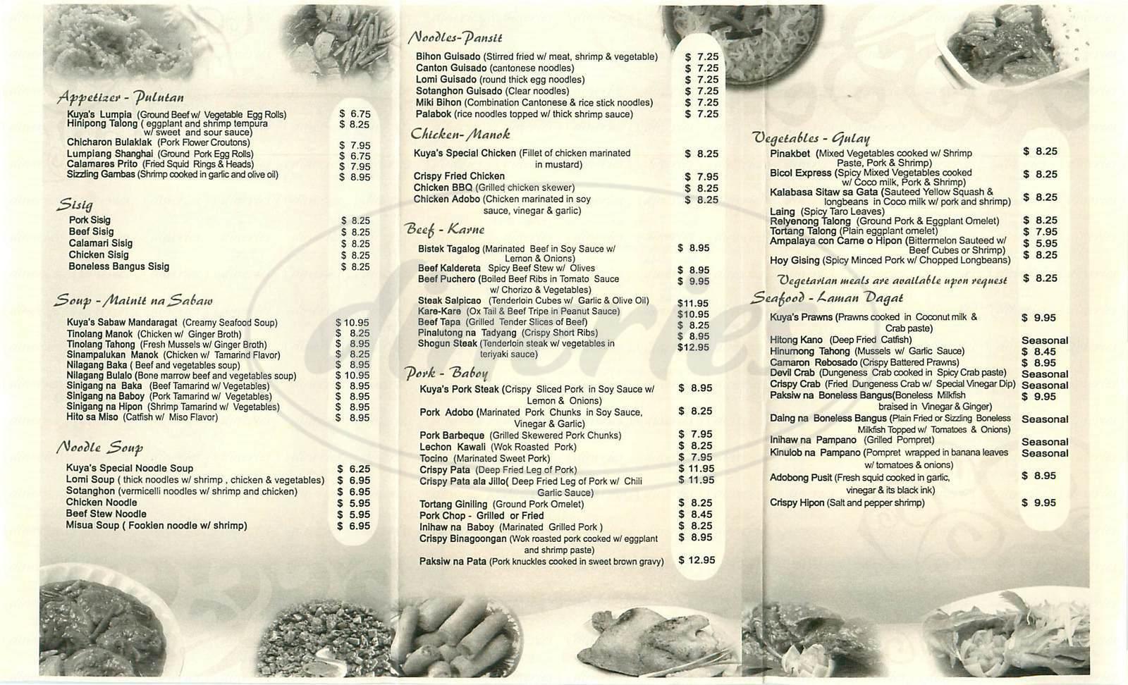menu for Kuya's Asian Cusine