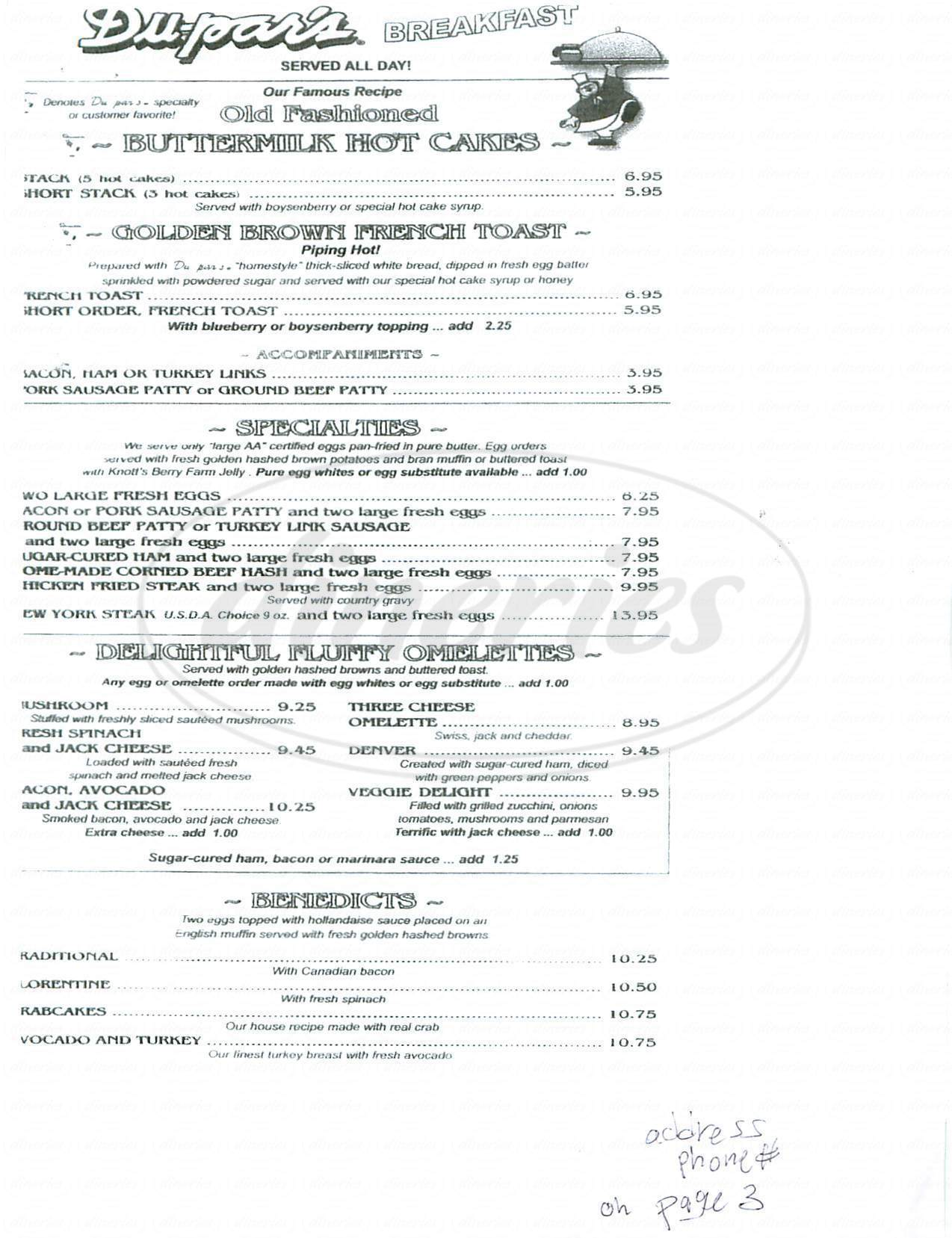 menu for Du Pars Restaurants & Bakeries