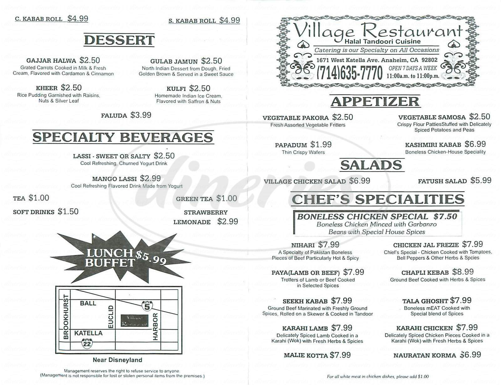 menu for Village Restaurant