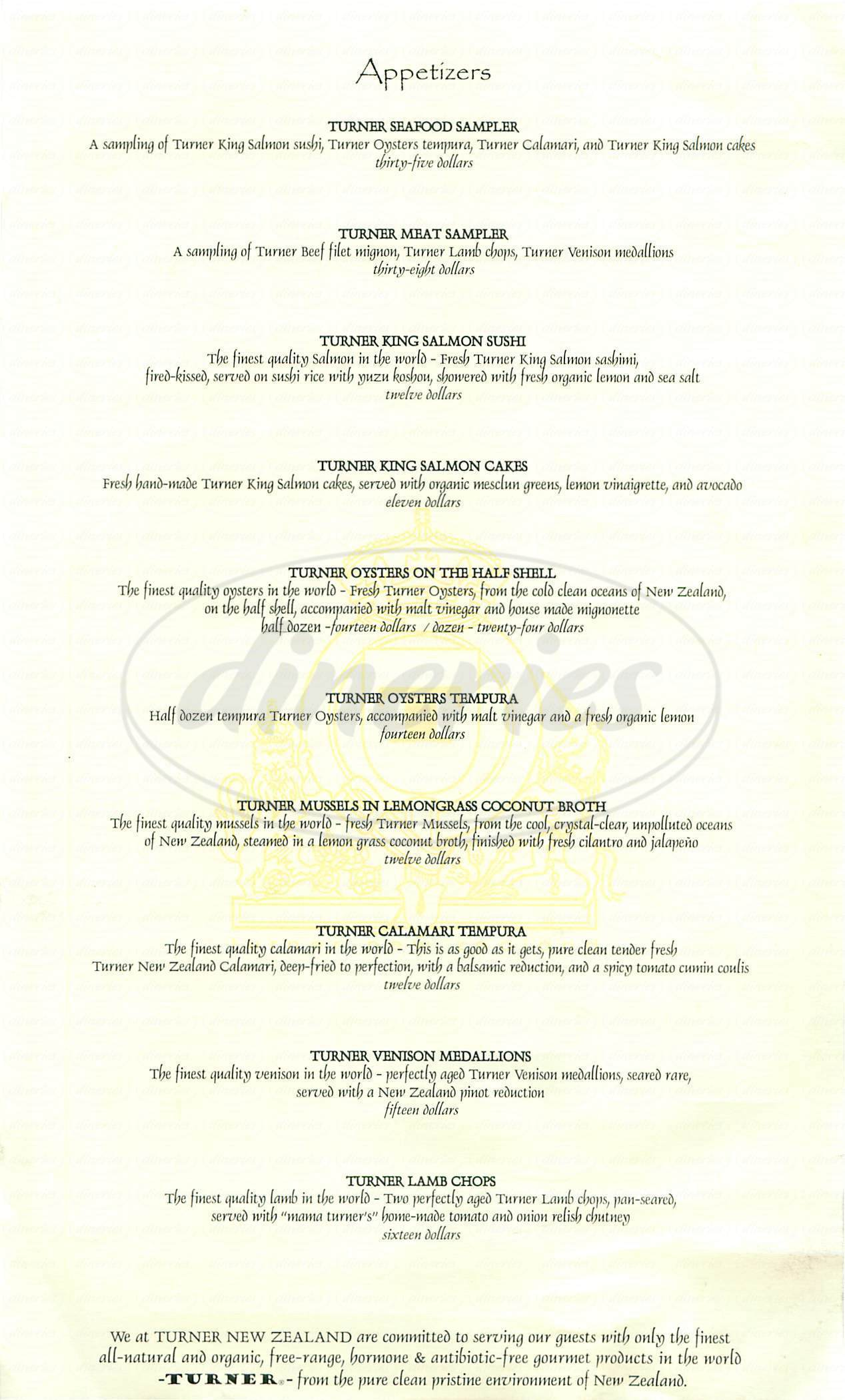menu for Turner New Zealand