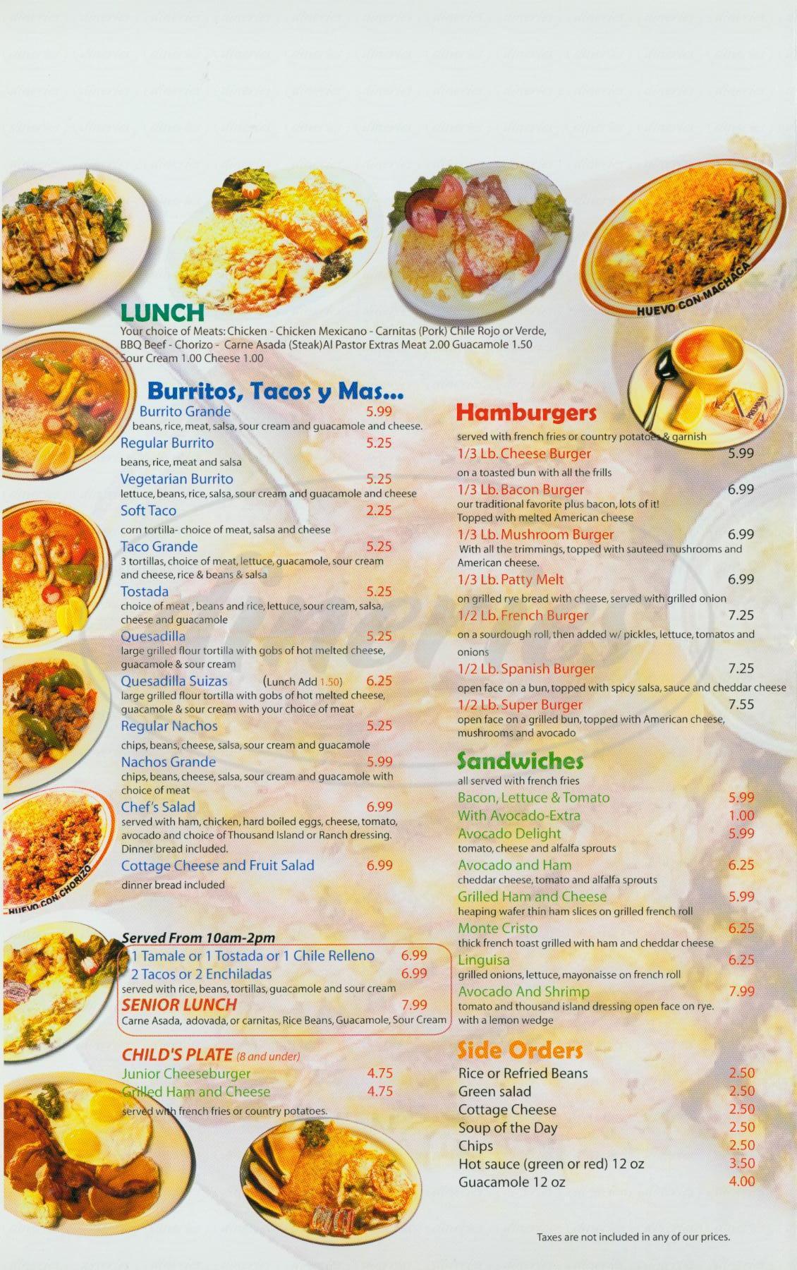 menu for Araujo's Restaurant