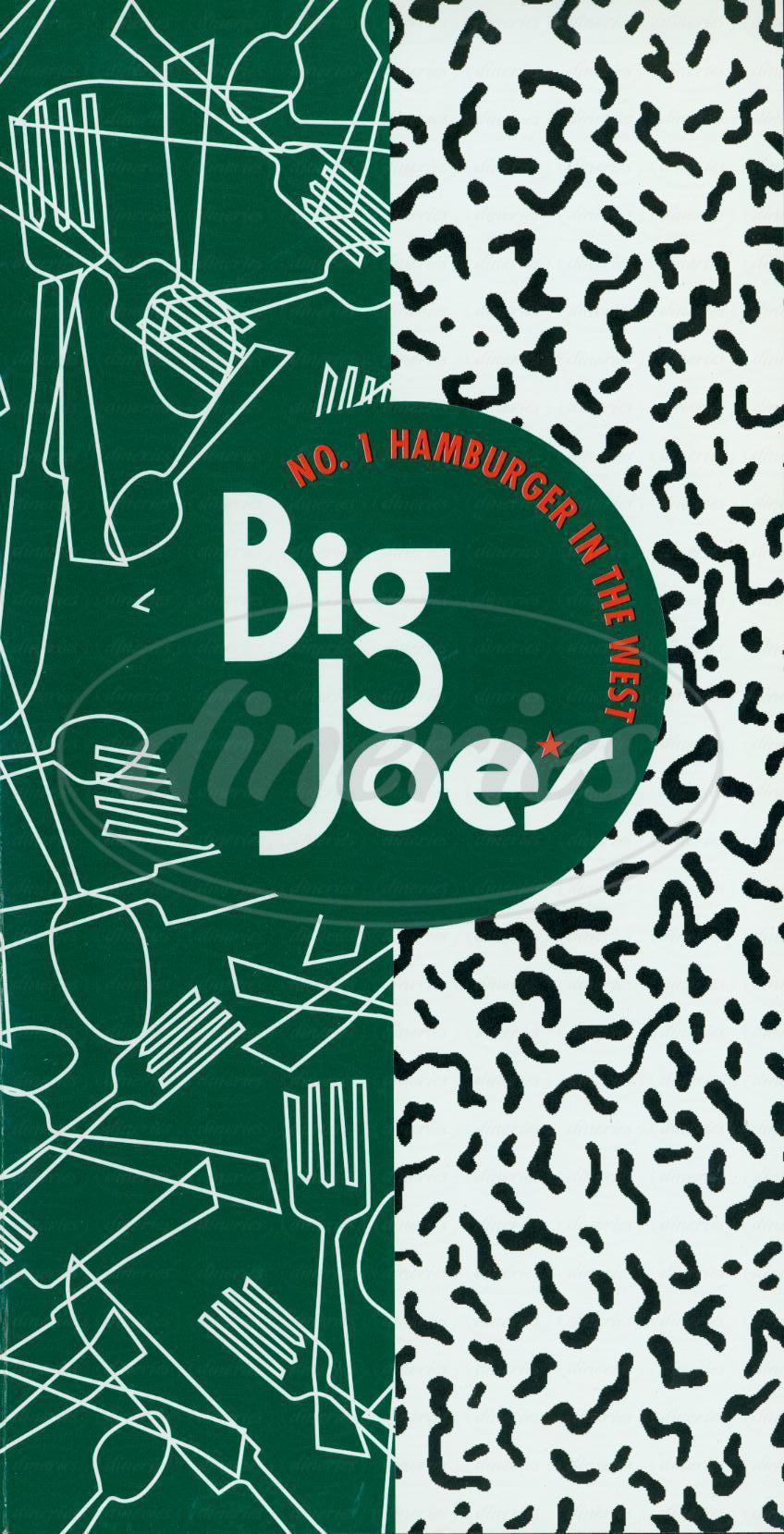 menu for Big Joe's
