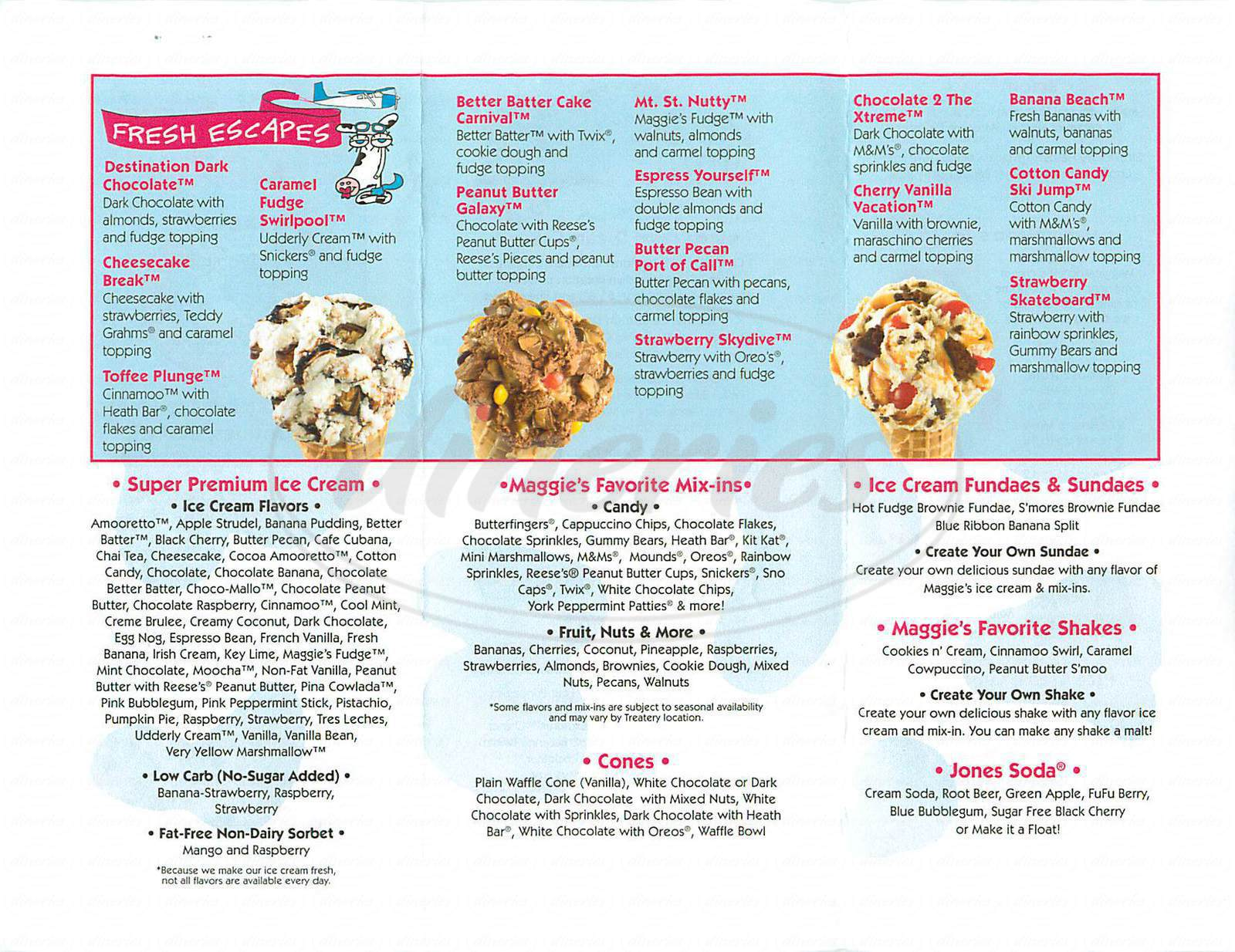 menu for Maggie Moo's Ice Cream & Treatery