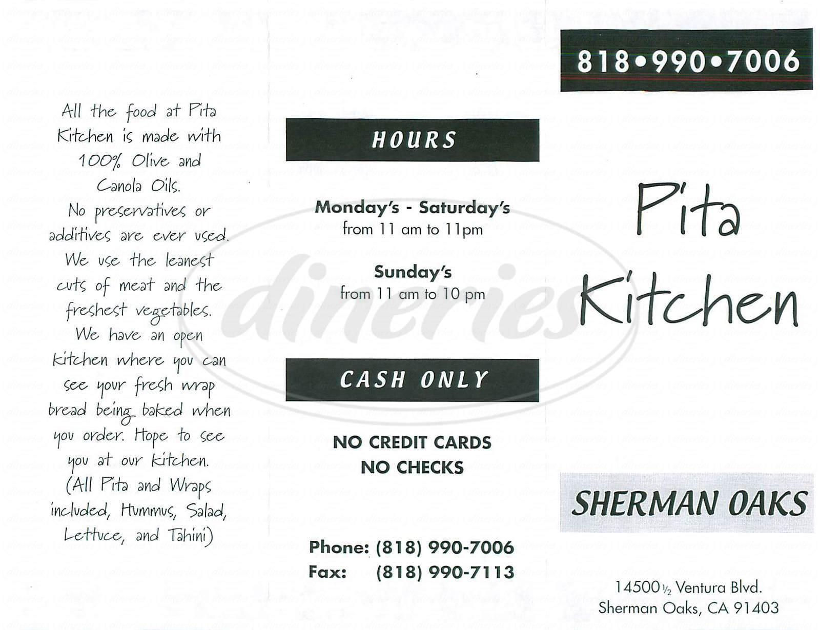 Pita Kitchen Menu - Sherman Oaks - Dineries