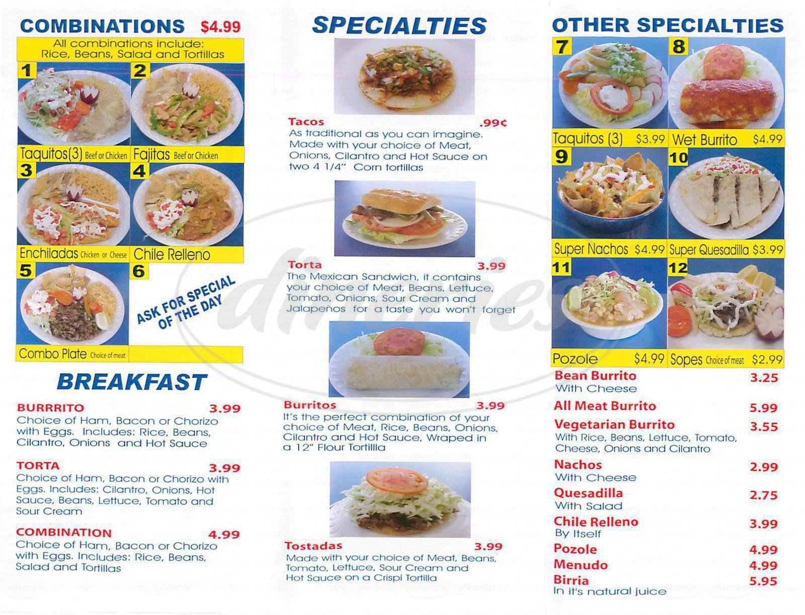 menu for Que Ricos