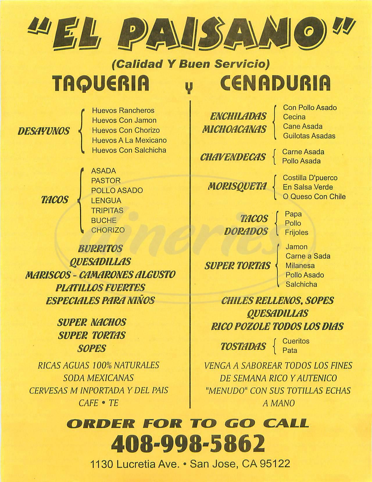 menu for Taqueria el Paisano