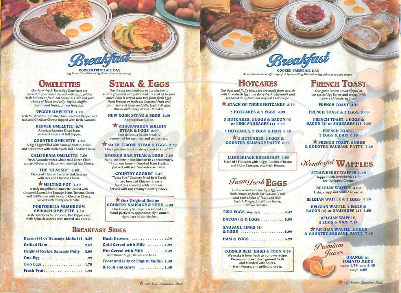 menu for Norms Restaurant