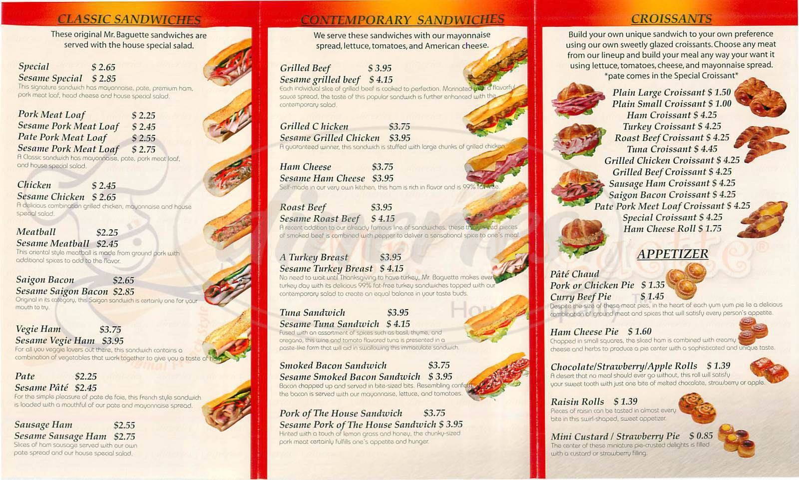 menu for Mr. Baguette
