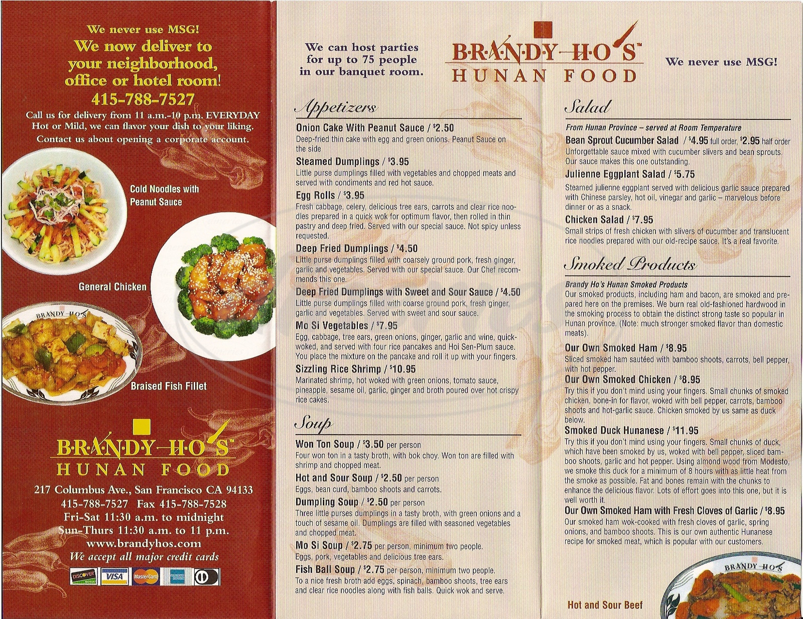 menu for Brandy Ho's Hunan Food