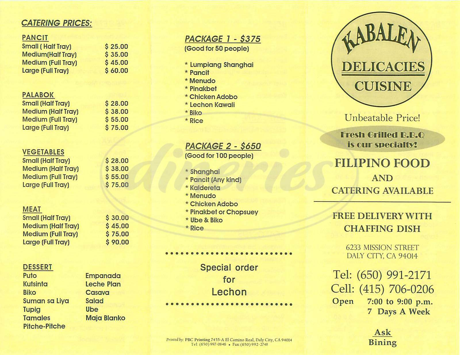 menu for Kabalen Delicacies Cuisine